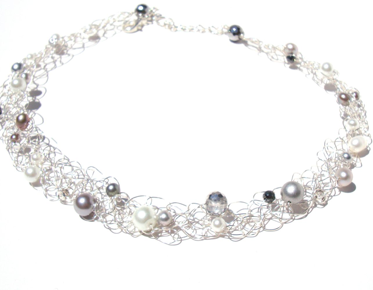 Silver Choker White Grey Pearl Crystal Wire Necklace