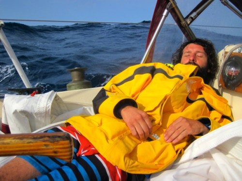 Roberto after the storm sleeping on the jib