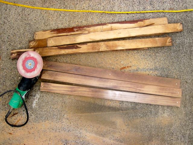 Restoring teak with a grinder