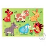 Puzzle bois animaux ferme prairie - Djeco