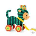 Chat à promener jouet à tirer en bois