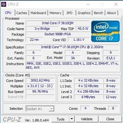CPU Z Core i7-3610QM