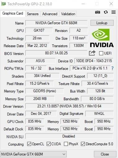 GPU Z Nvidia GeForce GTX 660M