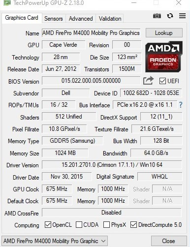 AMD FirePro M4000 (Mobility Radeon 7770)