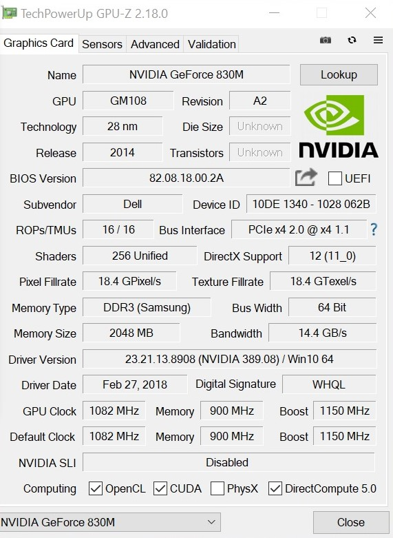 Nvidia GeForce GT 830M