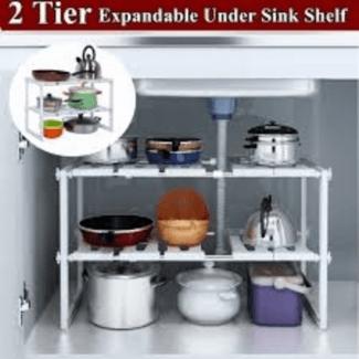 2 tier expandable under sink organizer shelf adjustable kitchen storage rack