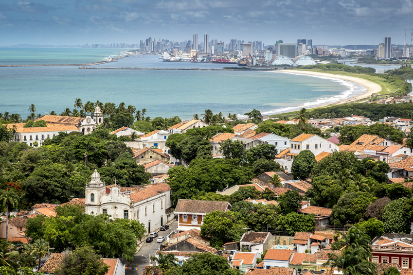 Aerial View of Olinda and Recife in Pernambuco, Brazil