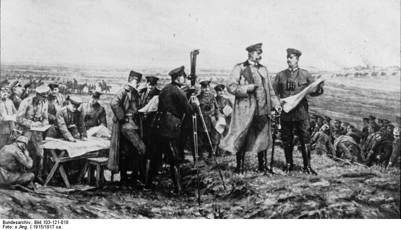 I generali tedeschi Hindenburg e Ludendorff sul campo di battaglia di Tannenberg.