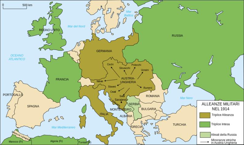Mappa dell'Europa all'inizio della prima guerra mondiale (1914)