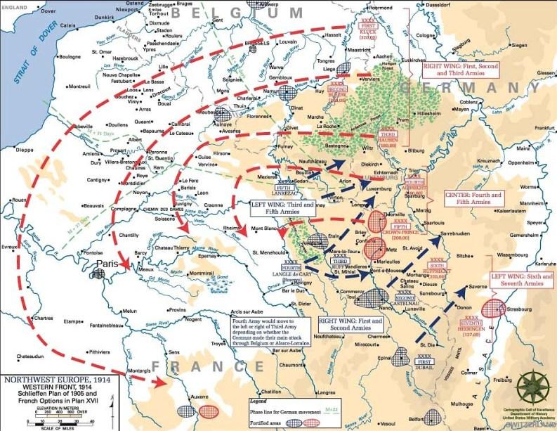 mappa: Schlieffen Plan e Piano XVII (U.S. Army)
