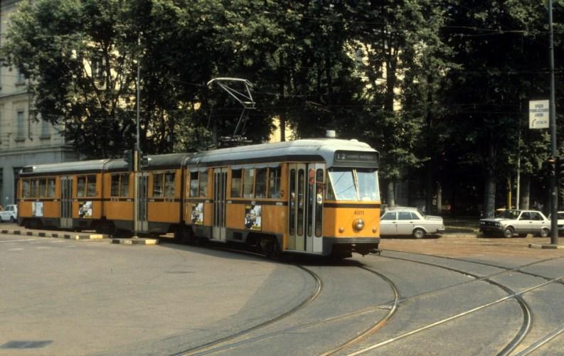 Tram ATM serie 4800 a Milano nell'agosto del 1984. © Kurt Rasmussen/W. Commons