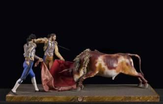 Toreri spagnoli: gruppo di statuette, XIX secolo.