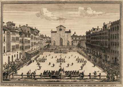 Calcio fiorentino in piazza Santa Croce a Firenze nel 1688