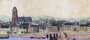 veduta della città con il Duomo Imperiale di San Bartolomeo (a sinistra) e il fiume Meno in primo piano.