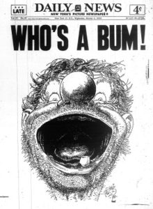 """Who's a bum!"" copertina del New York Daily, 5 Ott. 1955"