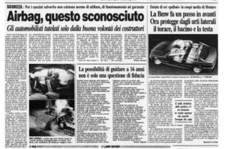 """""""Airbag, questo sconosciuto"""" Corriere della Sera 19 aprile 1999"""