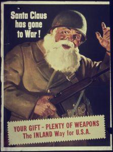 Babbo Natale imbraccia il fucile in un poster americano di propaganda del 1942.