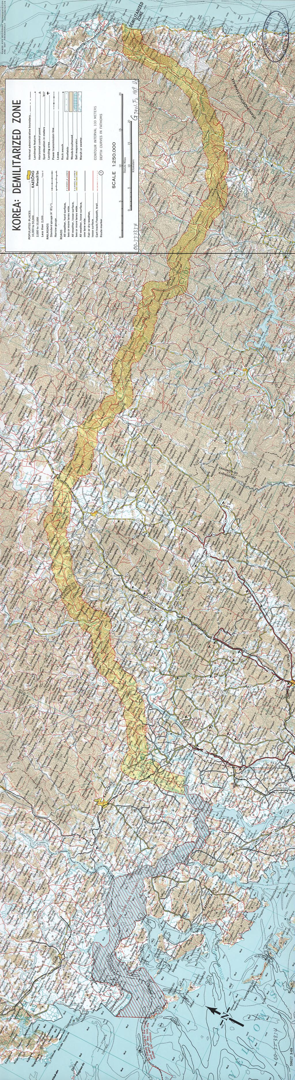 Zona demilitarizzata coreana, mappa CIA 1969