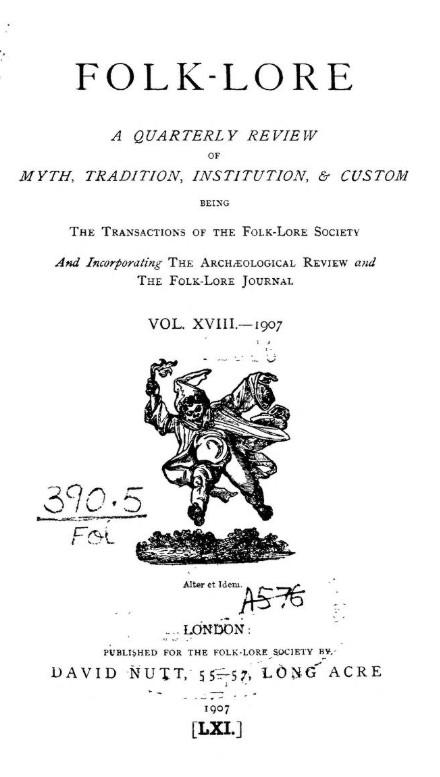 """Frontespizio di """"Folk–Lore"""", vol. XVIII, 1907"""