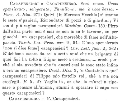 cacapensieri nel vocabolario della crusca 5a ed.