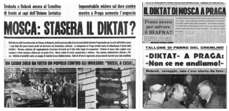 """Diktat nei titoli del """"Corriere d'Informazione"""" in relazione ai fatti della Primavera di Praga (1968)"""