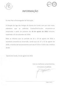Informação_Encerramento Agosto de 2016