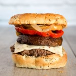 Portobello mushroom bison burger. Healthy burger with vegetables.