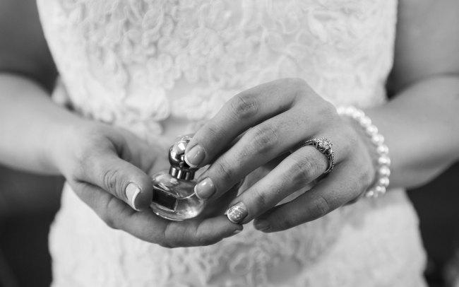 perfume detail, wedding dress