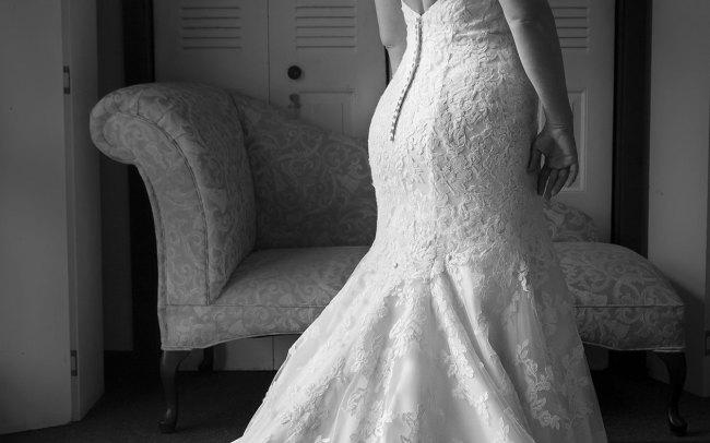 wedding dress detail black and white