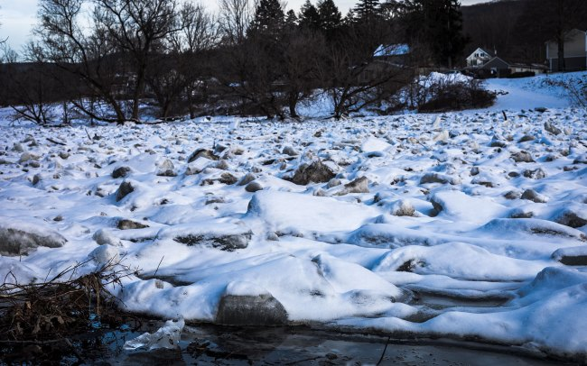 Ice Jam on the Housatonic River in Kent, Connecticut