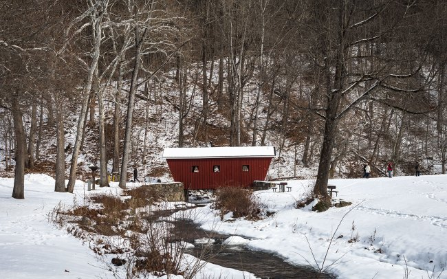 Red covered bridge at Kent Falls, Connecticut