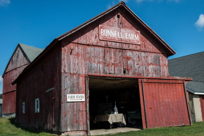 Old red barn at Bunnell Farm in Litchfield