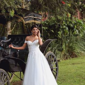 Chica con vestido de novia apoyándose en un carruaje de caballos