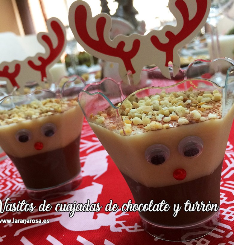 Vasitos de cuajadas de chocolate y turrón