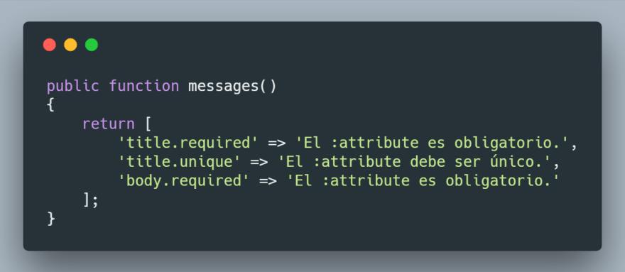 Sobrescribir método messages