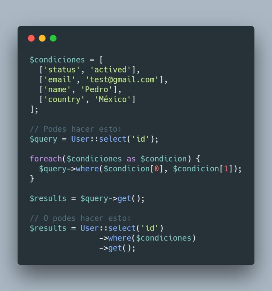 Implementación de where con array