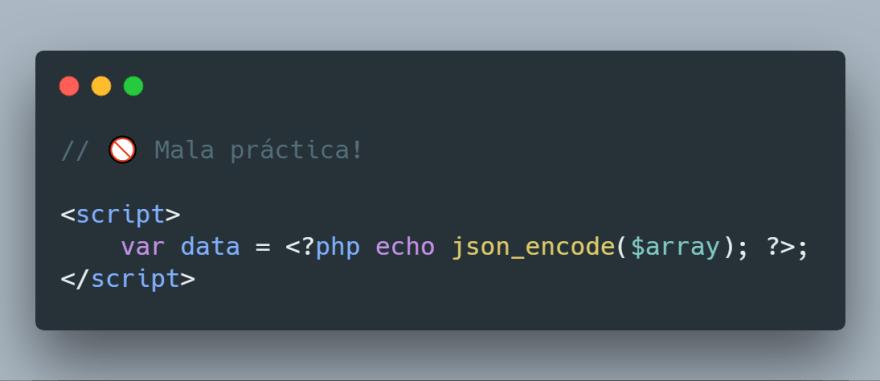 Código PHP en JavaScript - Mala práctica