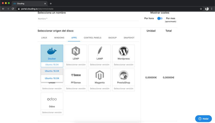 Crear VPS con Docker en Clouding.io