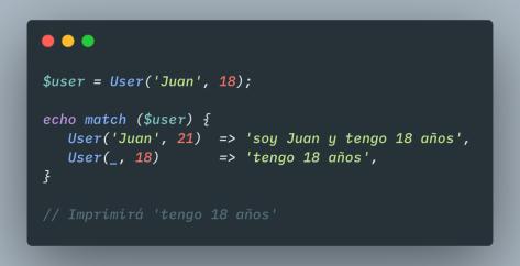 ejemplo pattern matching en PHP