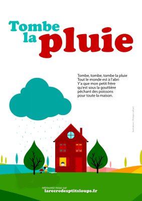 Tombe la pluie paroles de la comptine à télécharger gratuitement et à imprimer en A4 pour les écoles maternelles