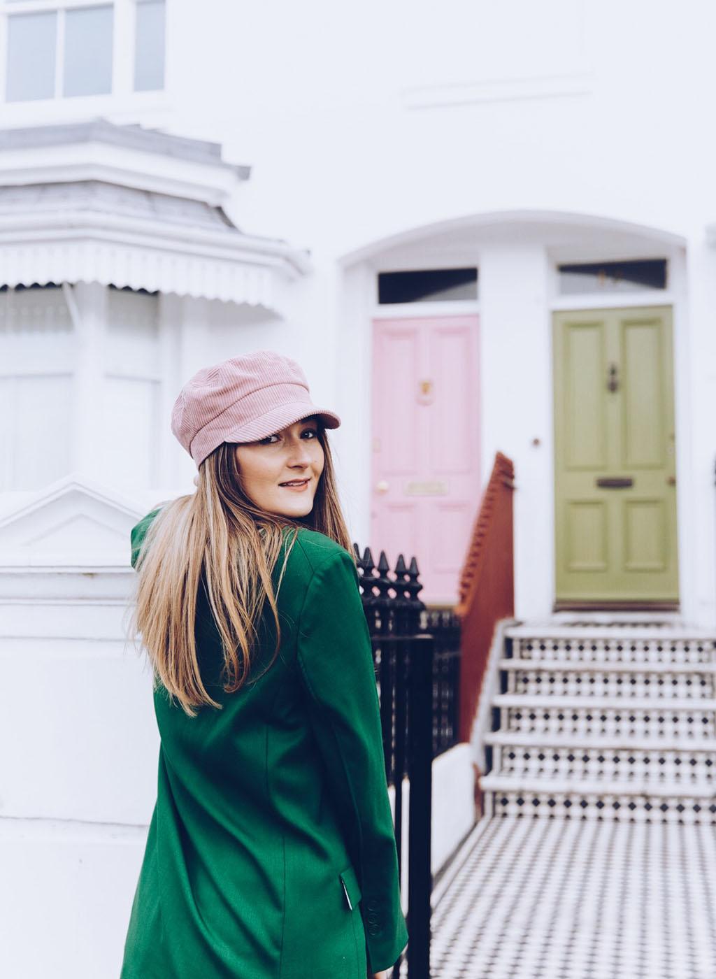 green hm oversized blazer Topshop baker boy hat