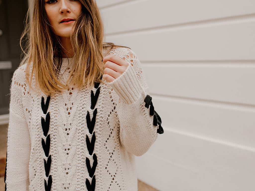 Matalan contrast lace up cable knit jumper