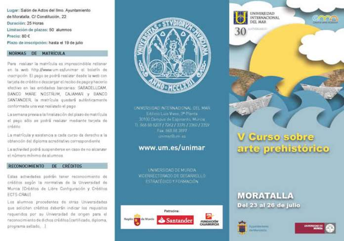 Triptico programa del curso Arte Prehistórico en Moratalla