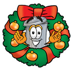 28221-clip-art-graphic-of-a-metal-trash-can-cartoon-character-in-the-center-of-a-christmas-wreath-by-toons4biz