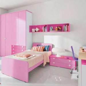 Glorious Kids Room Set 001 – Bed Frame With 4 Door Wardrobe, Wall Shelve and Kids Study