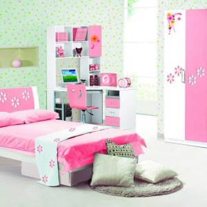 Glorious Kids Room Set 008 – Bed Frame With 3 Door Wardrobe and Kids Study