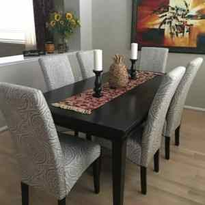 Friendship  Series 6 Seater Upholstered Dining with Premium High Gloss Table Top Finish