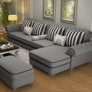Alice Series Deep Tacked 5 Seater (Spacious) Sectional Sofa Ottoman
