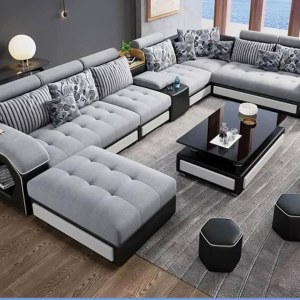 Brandon Series 10 Seater Sectional Sofa Set   4 Upholstered Stools