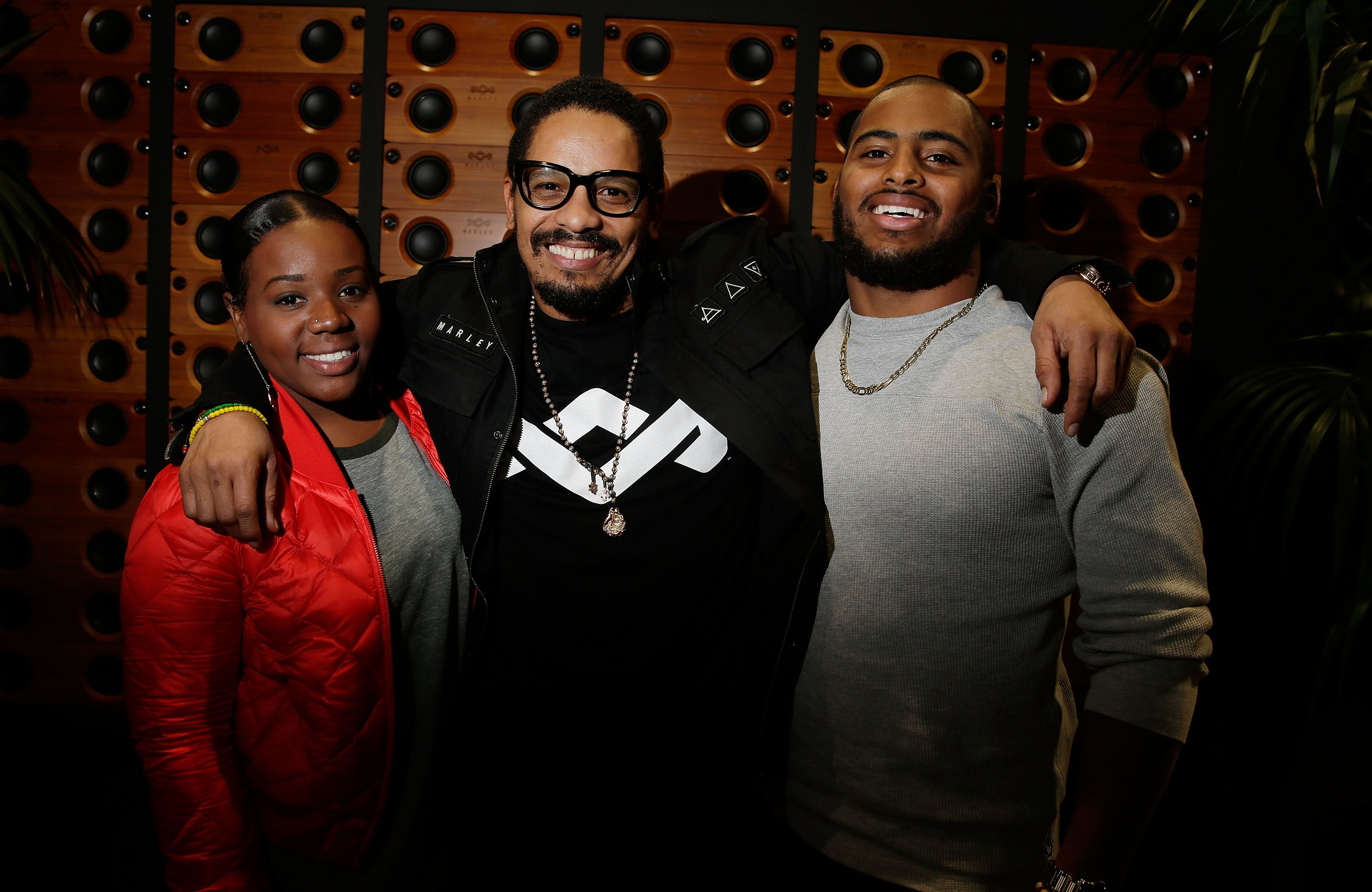 Rohan Marley with niece Justice Marley, and son, University of Tulane football player Nico Marley.